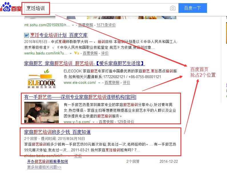 【深圳SEO优化外包案例】餐饮培训行业优化结果展示